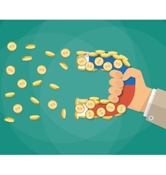 businessman hand with magnet and Gold coin vector image vector image
