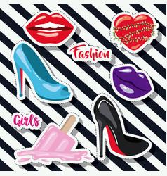 fashion woman girls elements sticker on pop art vector image