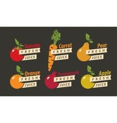 fruits with the names of for fresh juice vector image vector image