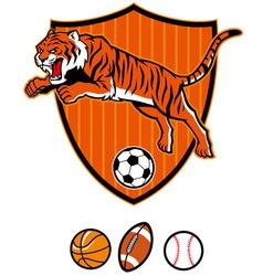 jumping tiger as sport mascot vector image