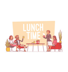 lunch time in the office lineart concept vector image