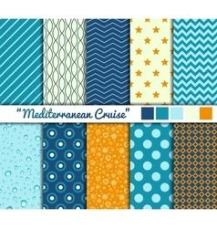 Set of 10 simple seamless patterns Mediterranean vector image vector image