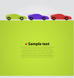 three cars in the race green background vector image