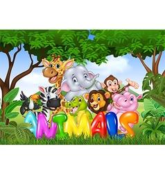 Word animal with cartoon animal vector image vector image