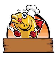 cartoon of fish chef vector image vector image