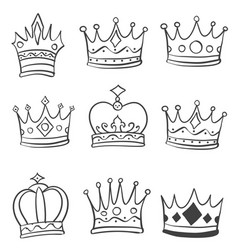 crown style various doodle hand draw vector image vector image