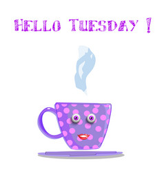 cute cartoon lilac smiling female cup with pink vector image