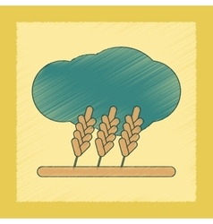 flat shading style icon wheat cloud vector image