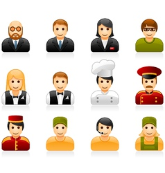 Hotel and restaurant staff icons vector image vector image