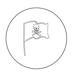 Pirate flag icon in outline style isolated on vector
