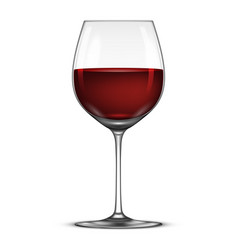 realistic wineglass with red wine icon vector image vector image