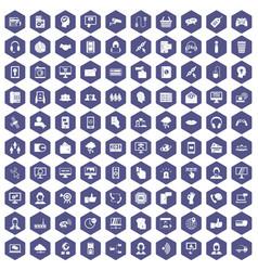 100 contact us icons hexagon purple vector