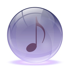 3D glass sphere and music icon vector