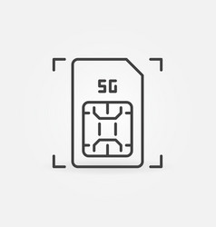 5g mobile sim card outline icon simcard vector image