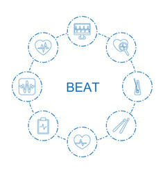 8 beat icons vector