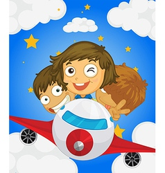 A plane with three kids vector