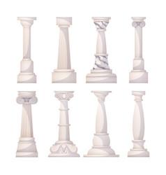 Ancient realistic ornate columns roman or greece vector
