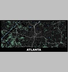 Atlanta map horizontal map atlanta city poster vector