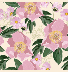 background with bouquets pink peonies vector image