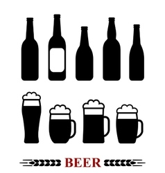 beer bottle and mug with foam set vector image