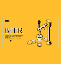 Beer tap isometric landing page alcohol drink vector