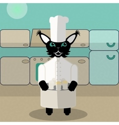 Beige and green green cat cook in the kitchen vector