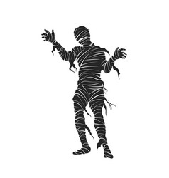 Black silhouette mummy halloween party vector