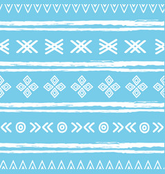 Blue and white ikat tribal seamless pattern vector