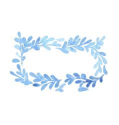 Blue fern leaves ivy wreath watercolor frame vector