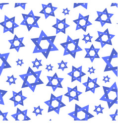 Blue mosaic stars of david seamless pattern vector