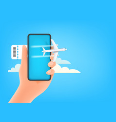 booking e-ticket on smartphone concept modern vector image