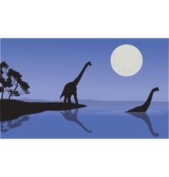 Brachiosaurus in sea scenery vector image