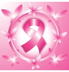 Breast cancer awareness pink ribbon in the circle vector image