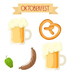 Bright cartoon oktoberfest attributes vector