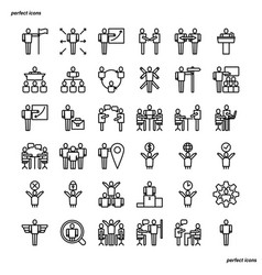 Business cooperation outline icons perfect pixel vector