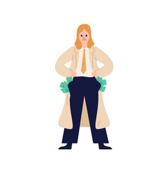 business male in suit stand with full money vector image