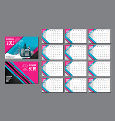 calendar template for 2019 year design layout vector image