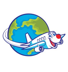 cartoon plane flying around globe vector image