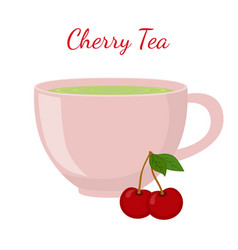 cherry tea in cup with berries vector image