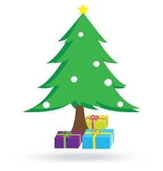 christmas tree and gift boxes vector image