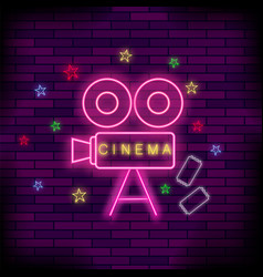 Cinema light neon sign pink signboard bright vector