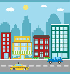 city landscape with buildingsstores car and taxi vector image