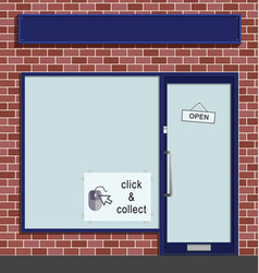 Click and collect sign in shop window vector