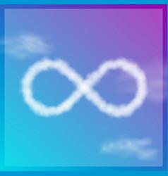Cloud infinity symbol on blue sky icon vector