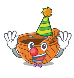 Clown wooden kitchen mortar isolated on mascot vector