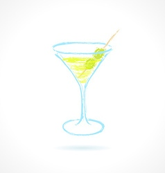 Cocktail with olives Ink vector image