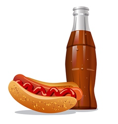 Cola and hotdog vector