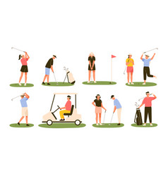 collection golf players isolated on white vector image