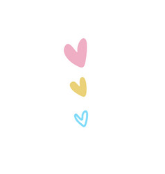 collection three hearts in a flat doodle style vector image