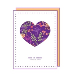 Colorful garden plants heart symbol frame pattern vector